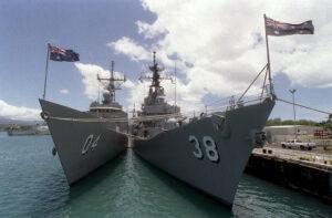 Two Australian warships standing side by side